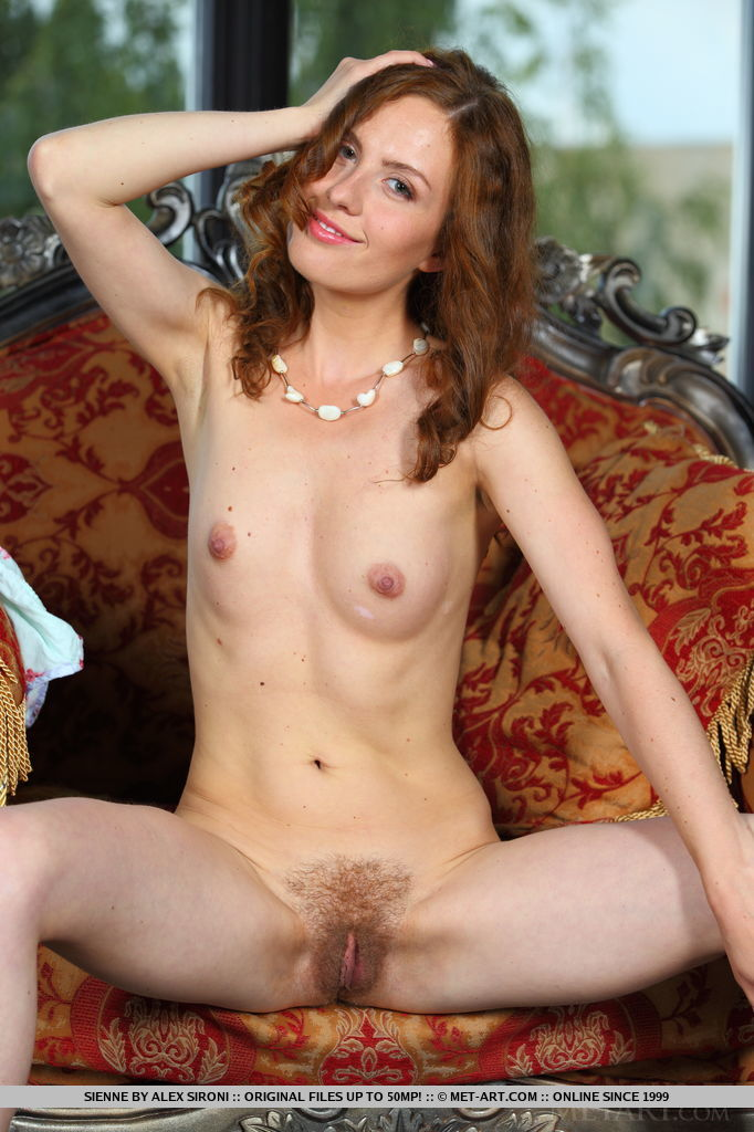 Sienne takes off her dress and proudly shows off her pink tits and exquisite, unshaven bush