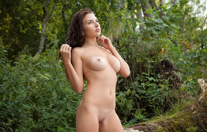 Stunning babe Niemira on a fallen tree