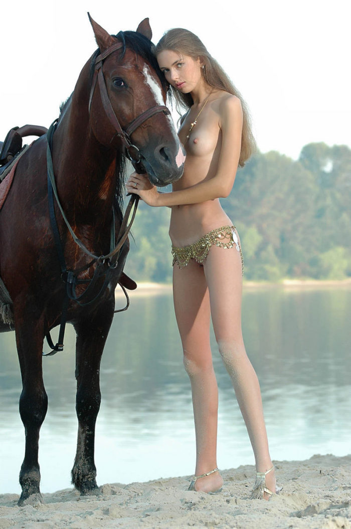 Girl with horse naked