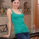 Russian teen Marla removes pink panties at kitchen