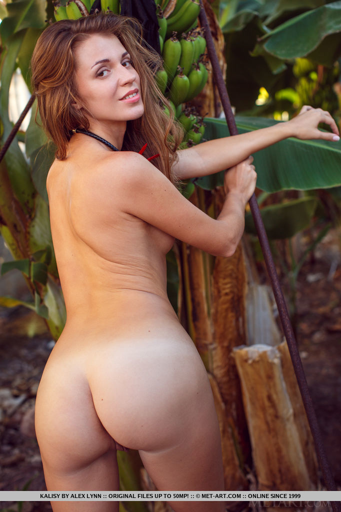 A flirty and playful Kalisy showing off her perky tits and meaty ass in the middle of a banana plantation