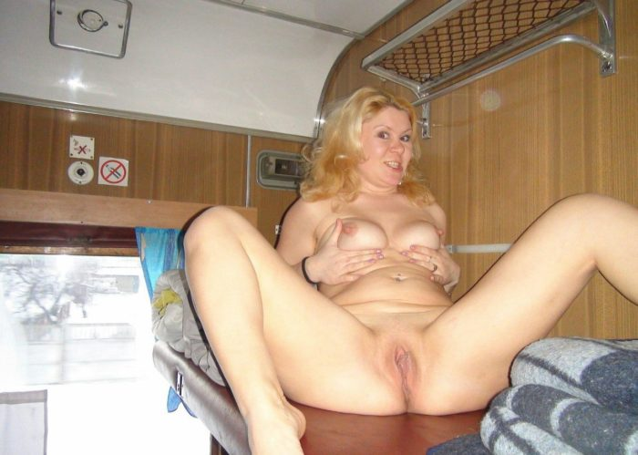 Amateur blonde wife posing in the train