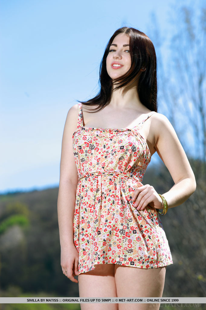 Black-haired beauty with smooth, fair skin, and elegant feminine curves that stands out against the outdoor background, Sivilla's beauty and appeal is simply stunning