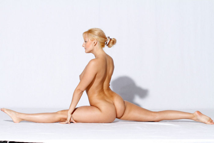 Busty blonde with really flexible body