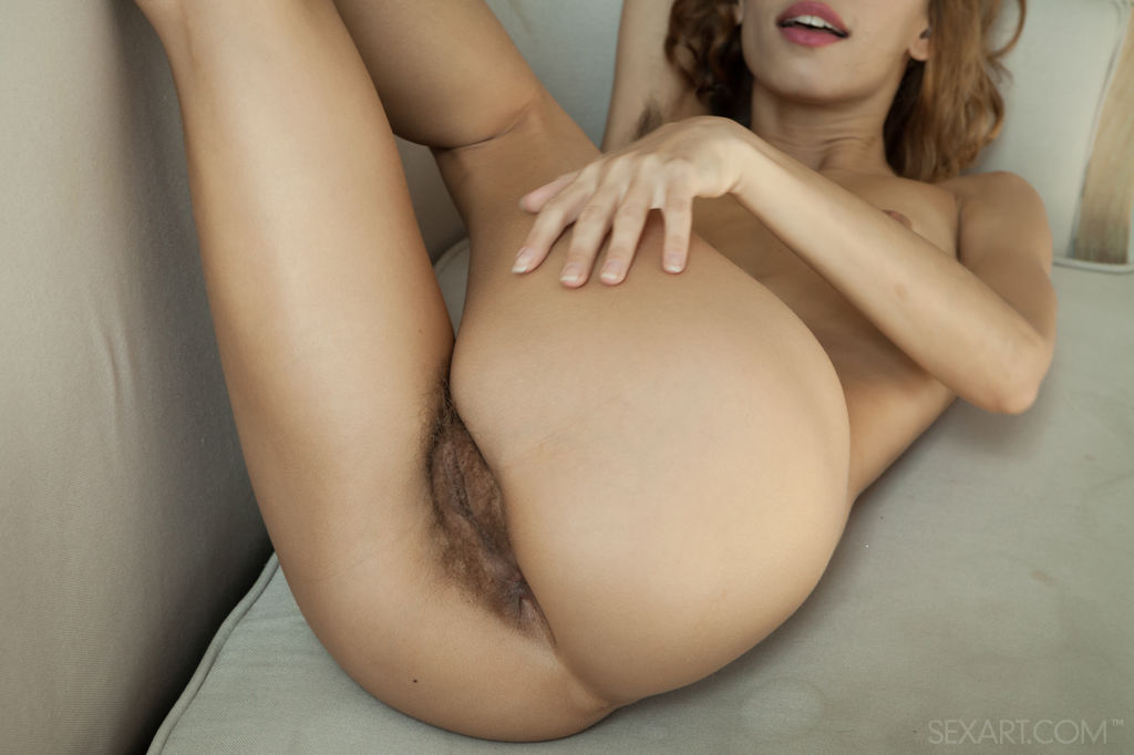 Dennie proudly shows off her hairy armpits and unshaved bush