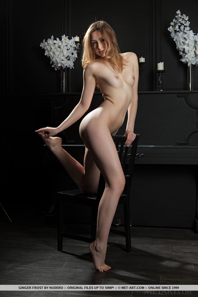 Ginger Frost strips her sexy lingerie baring her perky tits, meaty ass and yummy   pussy.