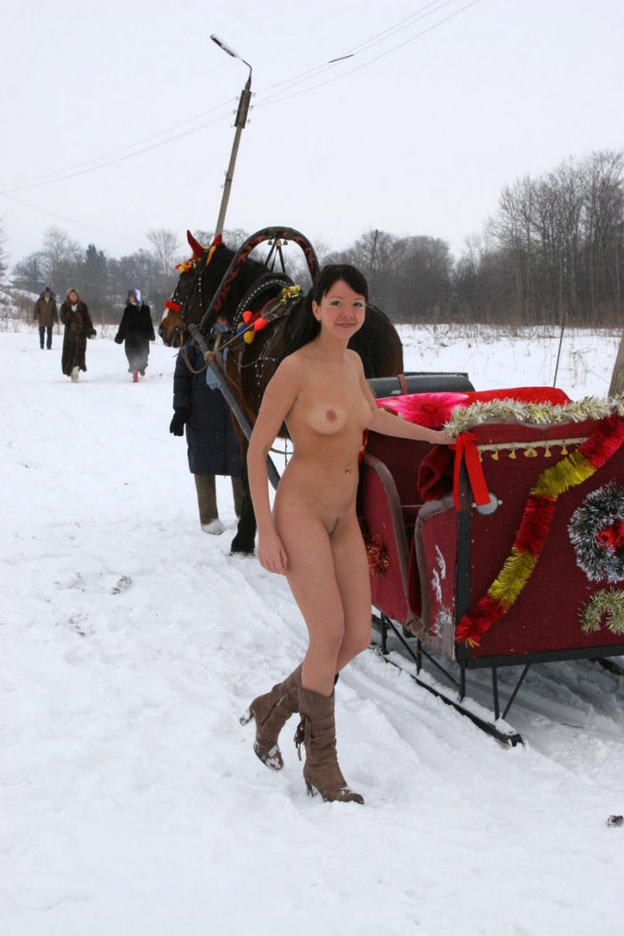 Smiling brunette in sleigh