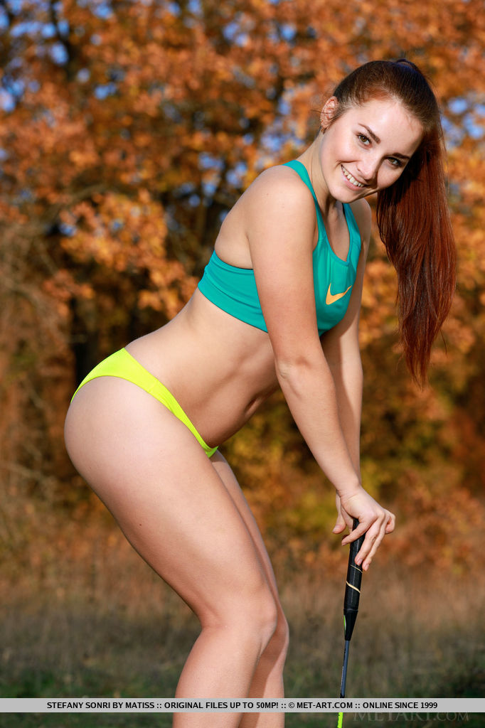 Stefany Sonri playfully poses in the outdoors as she flaunts her sexy, athletic body.