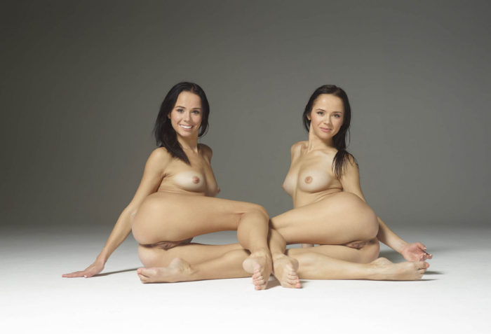 Two naked brunettes like a twins