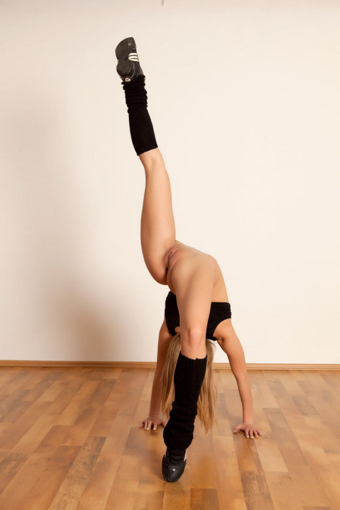 Very flexible blonde exposes her body in various poses