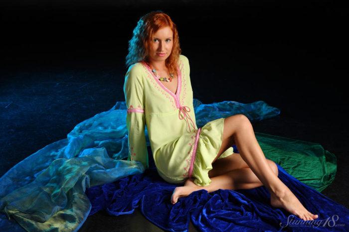 Sexy brunette Alice Noir in pink dress