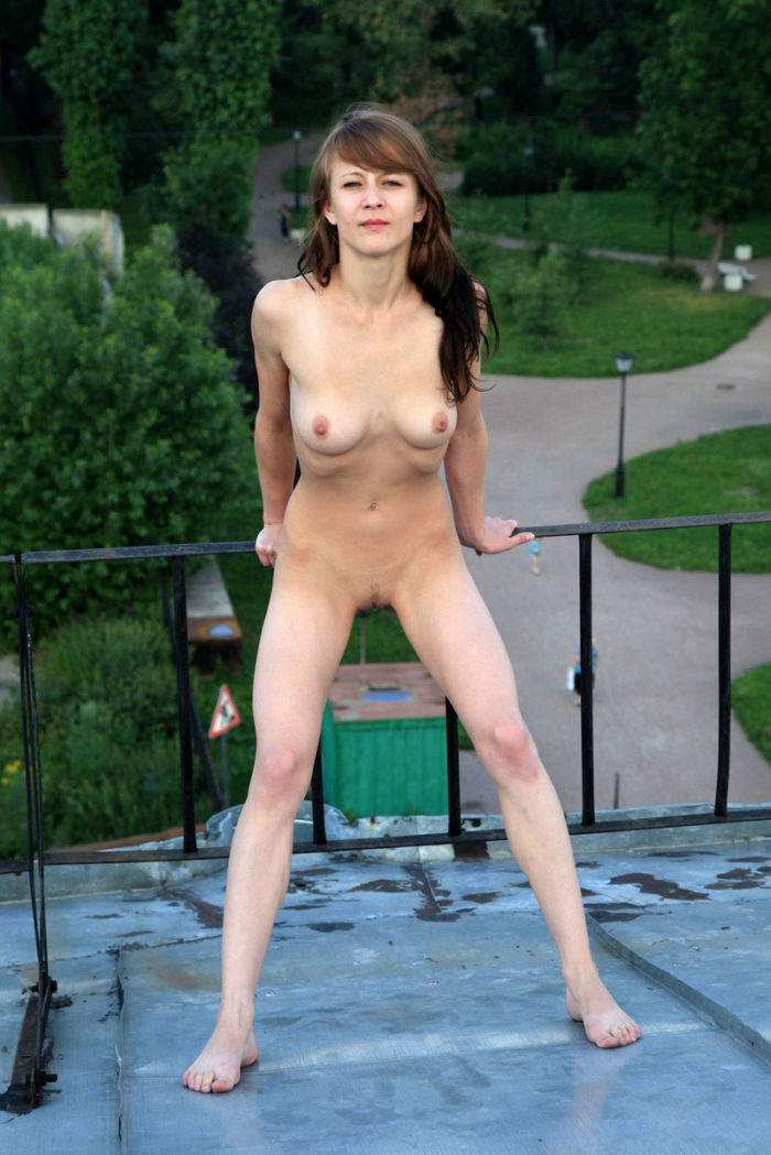 Skinny Russian Teen With Good Soft Boobs On The Roof -1457