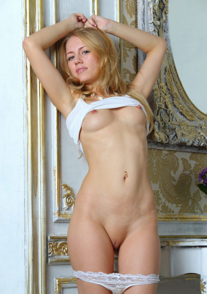 Blonde Tamara F with very hard nipples