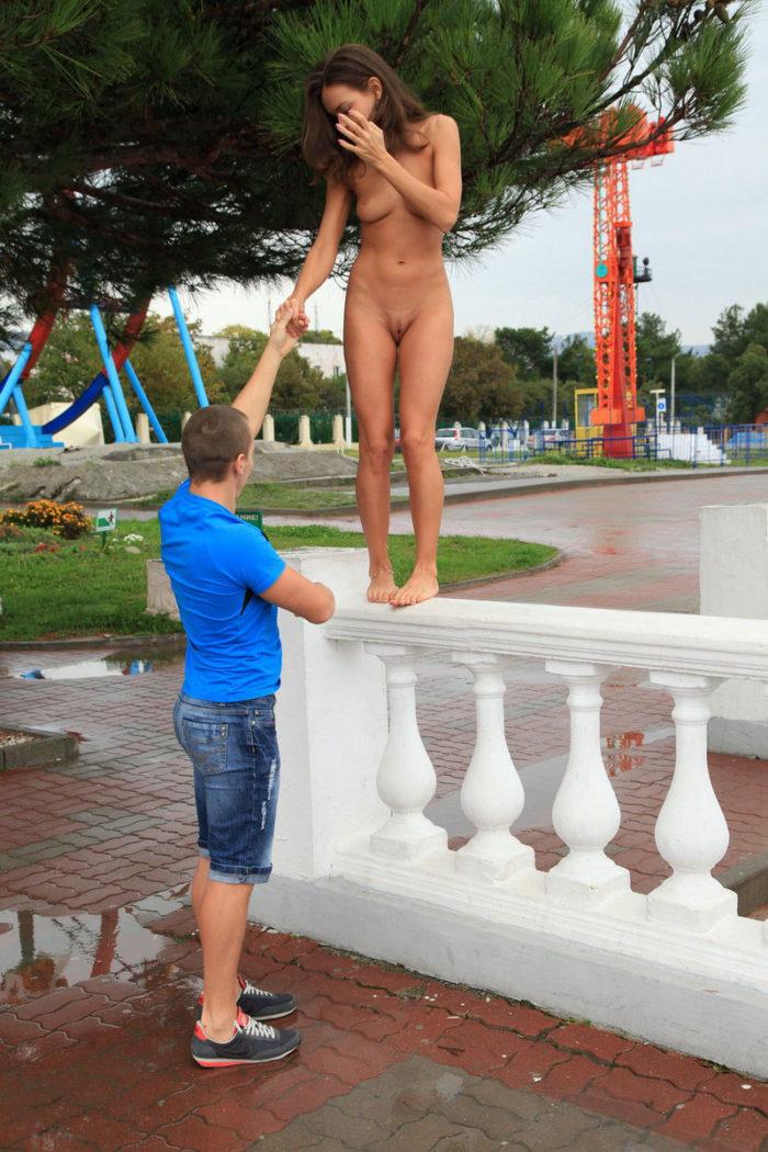 Shameless teen spread her legs in front of stranger man