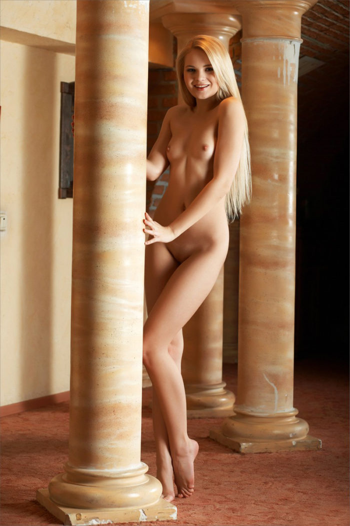 Small-tittied blonde Talia with slender body