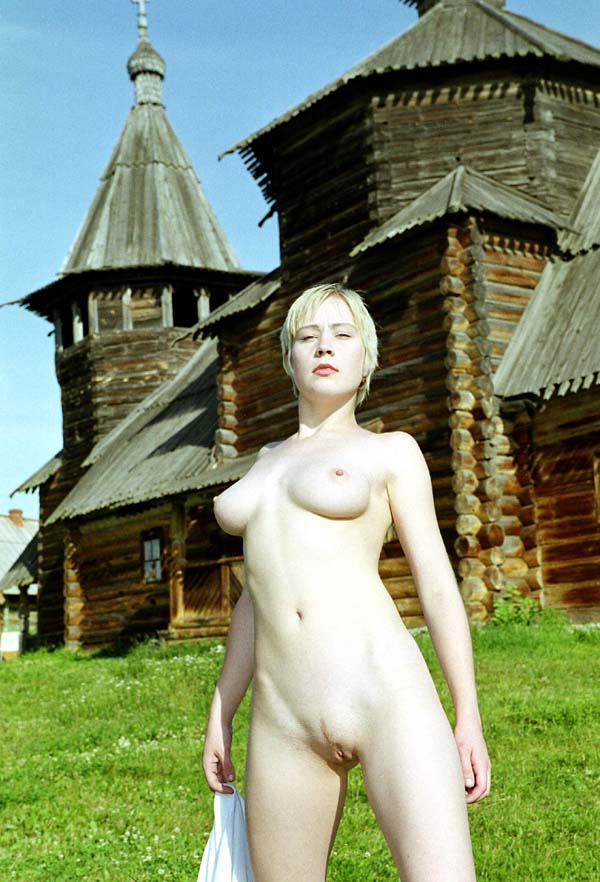 Vintage photos of naked short-haired blonde at outdoors russian museum