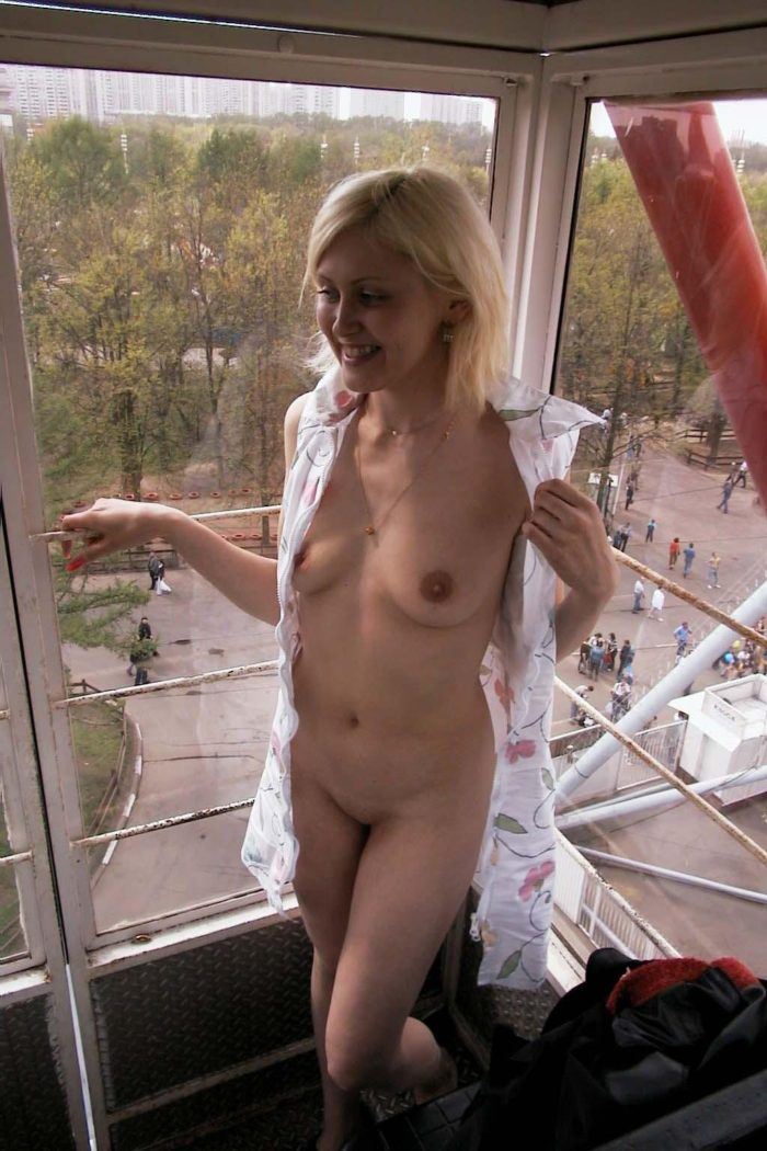 Amateur russian blonde on Ferris wheel