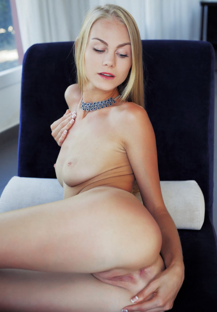 Amazing girl Nancy A puts her fingers in her sweet pussy