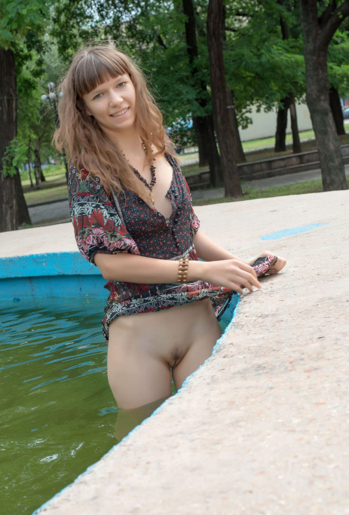Teen girl flashing