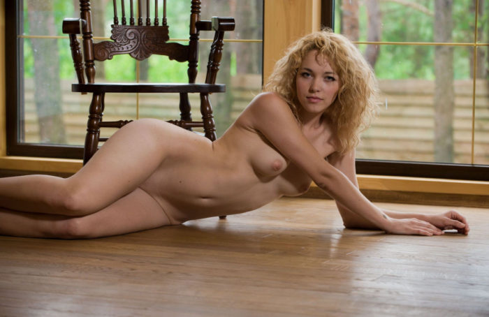 Curly blonde Alissa at countryhouse