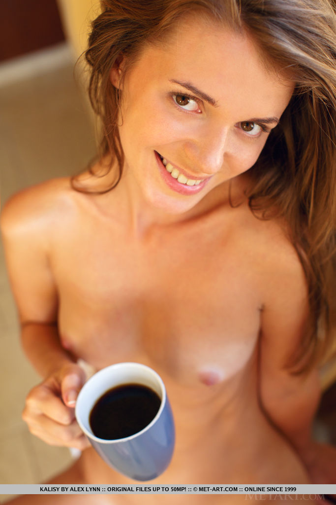 Kalisy prepares a tasty breakfast of her sweet puffy nipples and shaved snatch