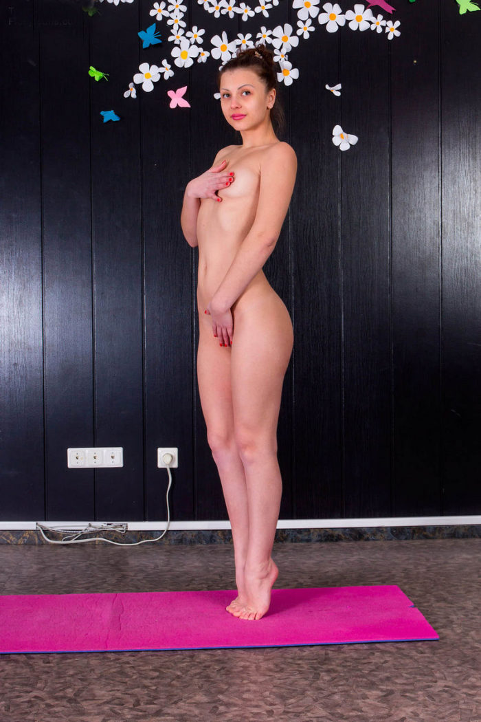Naked sports training by russian gymnast girls