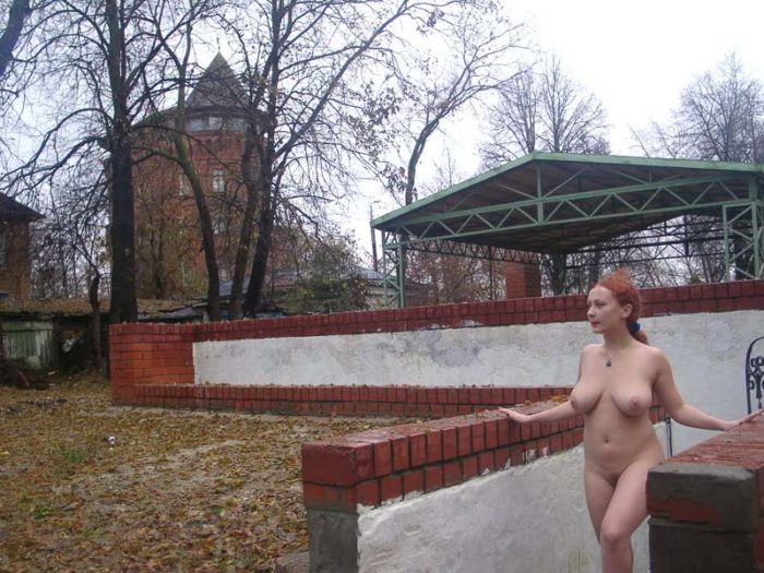 Russian redhead with suggy tits at city center