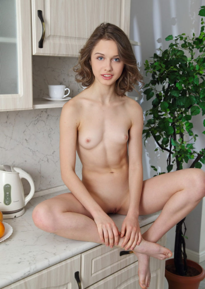Small tittied russian girl on the kitchen
