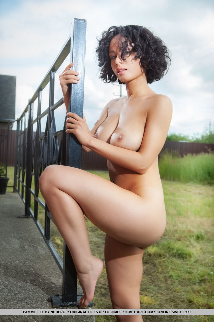 Busty Pammie Lee flaunts her curvy body with round ass as she poses sensually on   the veranda.