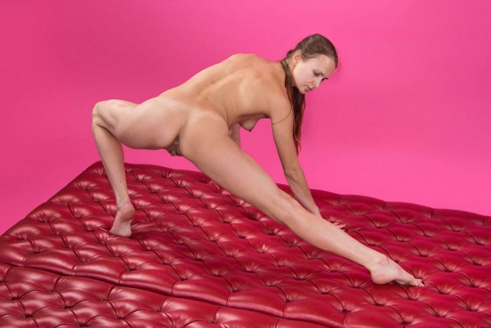 Flexible russian girl in pink room