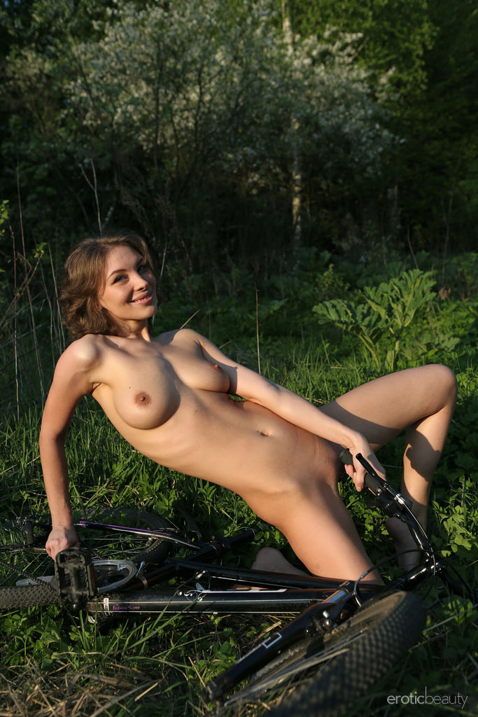 Galina A strips outdoors baring her sexy body.
