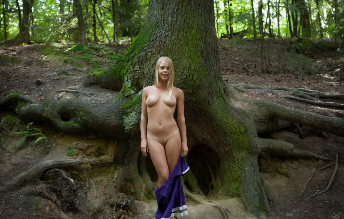 Gorgeous blonde Sarika in the woods