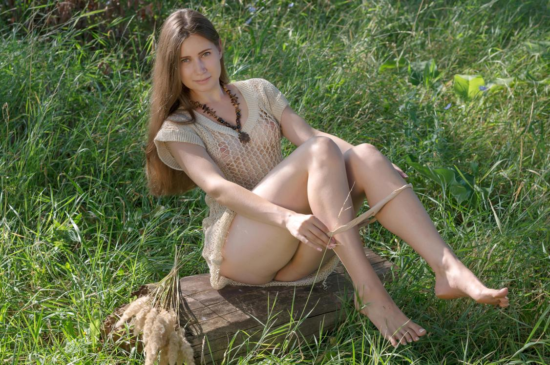 Sensual lady in woods consider