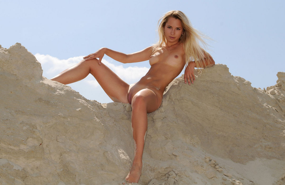 Slim blonde Olga Q at sand quarry | Russian Sexy Girls