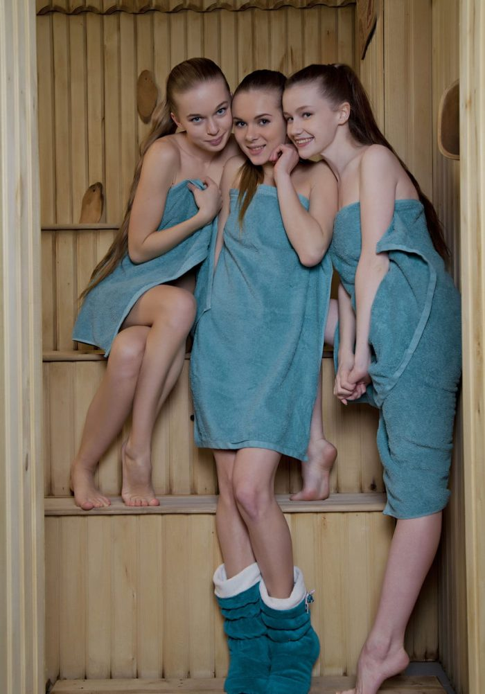 Three young babes at sauna