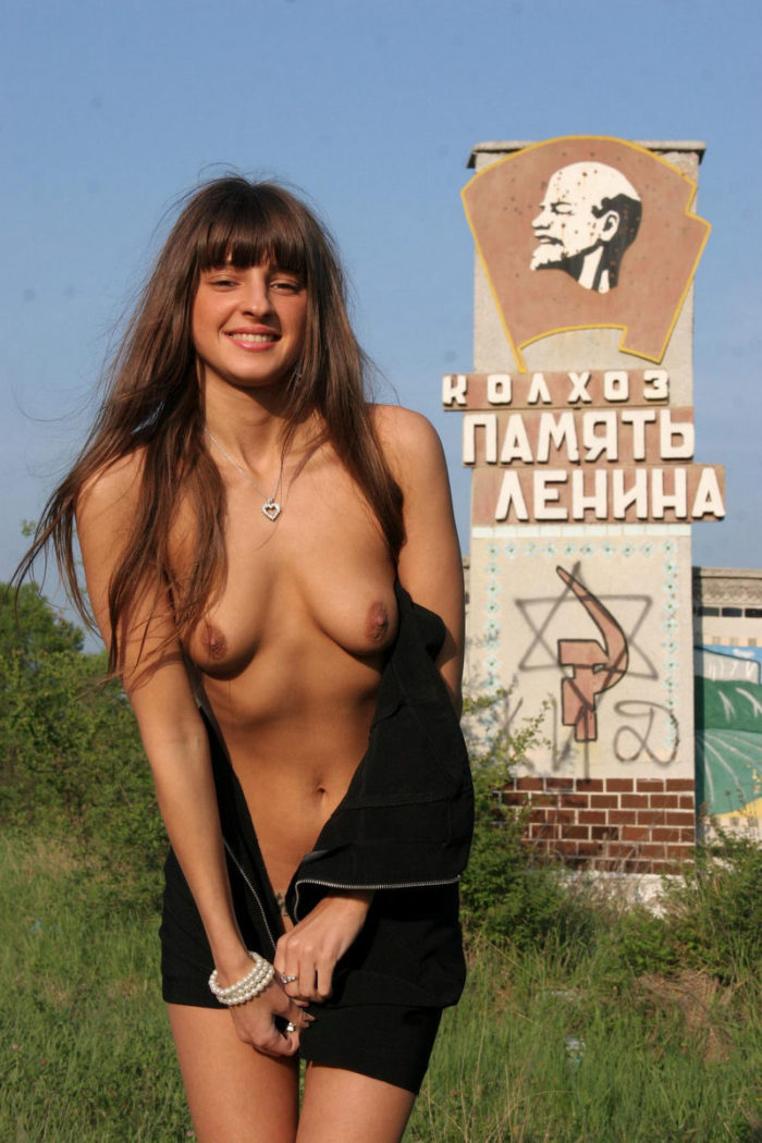 Young russian girl Masha E at the highway