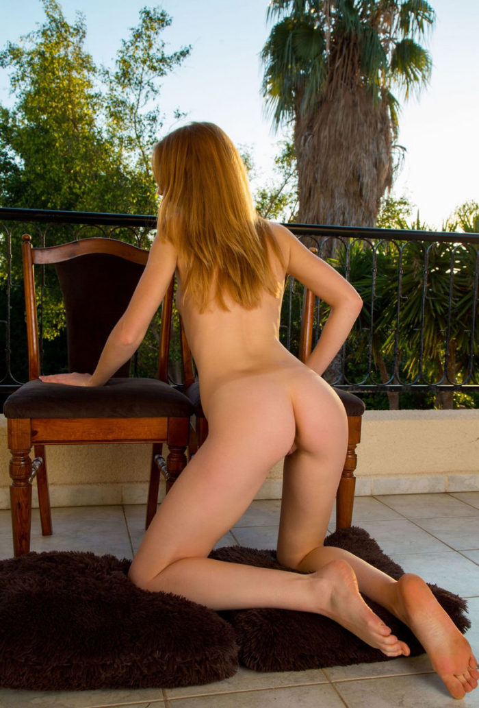 Blonde girl Alice May posing naked on vacation