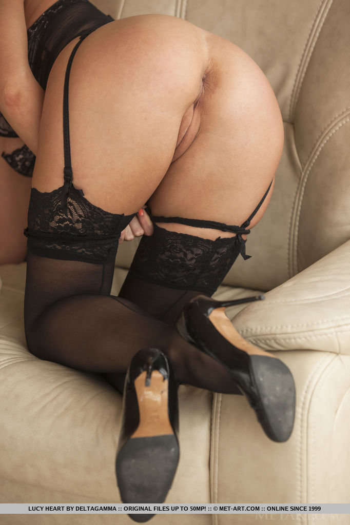 Lucy Heart confidently poses in her sheer black teddy with matching panty, thigh high stockings, and black stilettos