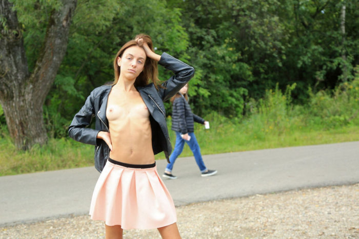 Skinny russian girl flashes at public near railway station