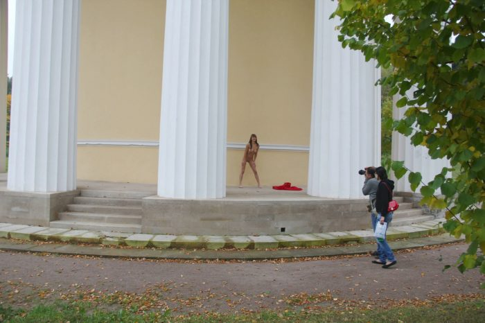 Skinny teen Elizaveta T walks naked at public park
