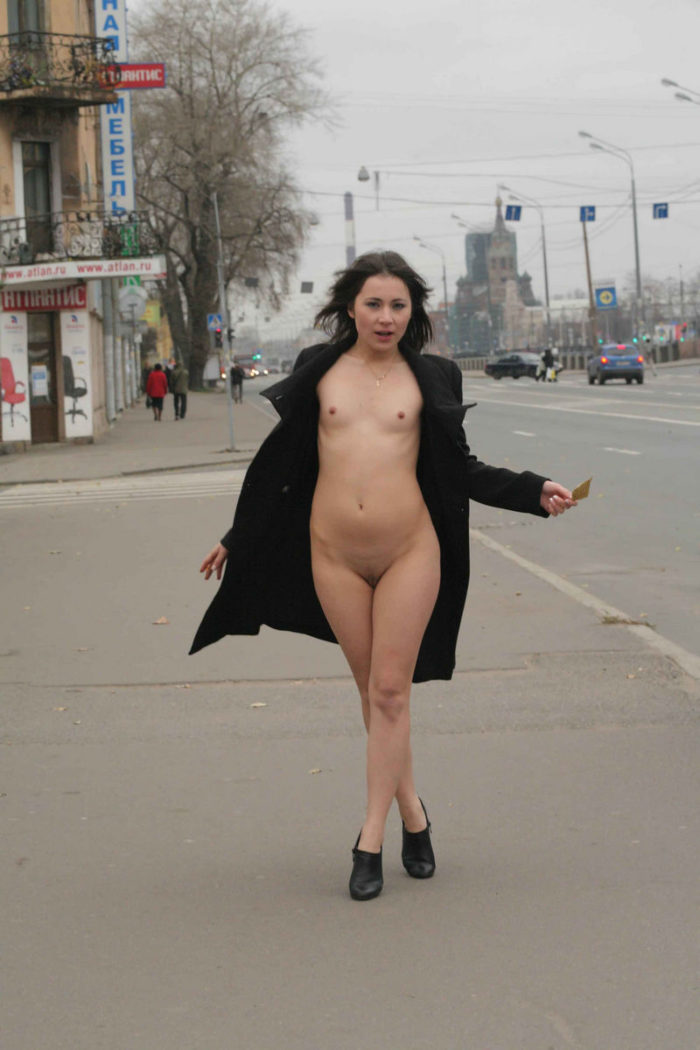 Small-tittied exhibitionist Nataly on the streets