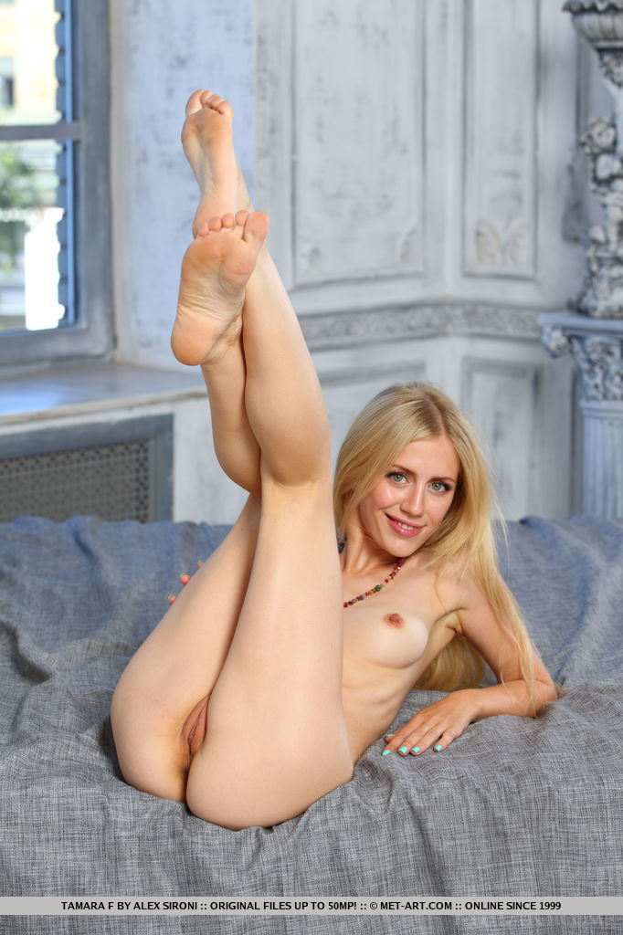 Tamara F blessed with perky pink tit, slim body, and shaved pussy