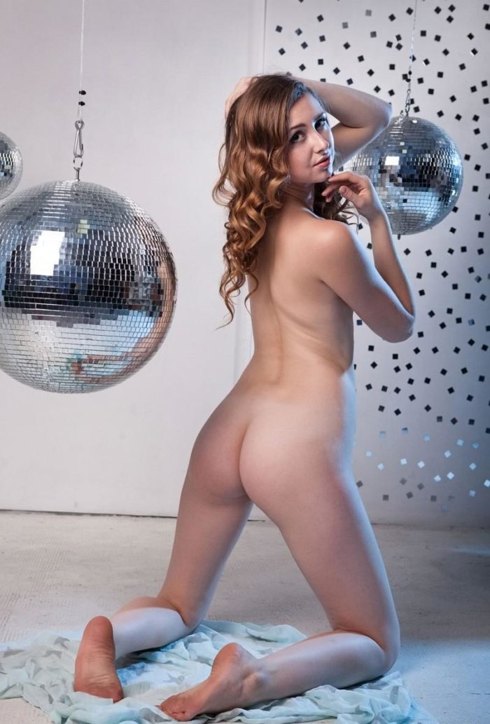 Curly girl Ginger Frost with disco balls