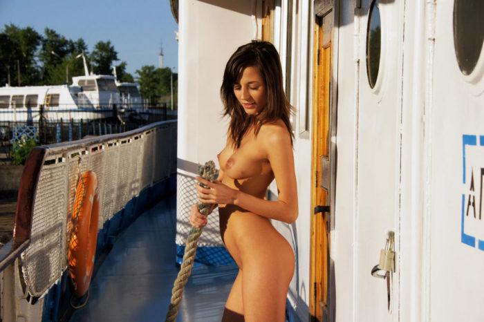 Hot babe Irina B posing on boat