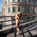 Hot teen Irina B walks naked at morning city