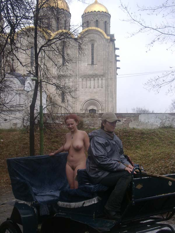 Redhead exhibitionist Janna in small russian town
