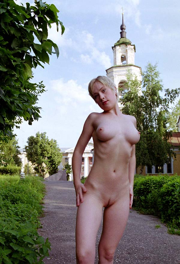 Short-haired blonde with perky boobs at varous public places