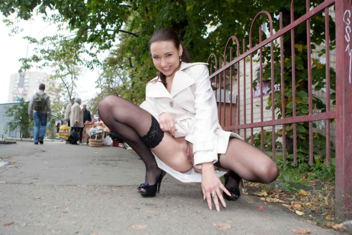 Very beautiful girl Bysya A flashes her body at public places