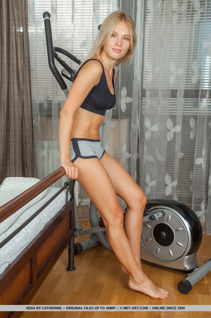 Russian blonde Lucia D on bycicle