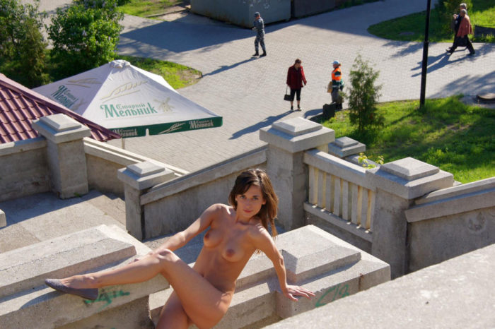 Young russian girl Irina B with great body at public place